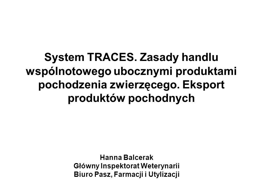 System TRACES. Zasady handlu wspólnotowego ubocznymi produktami pochodzenia zwierzęcego. Eksport produktów pochodnych Hanna Balcerak Główny Inspektora