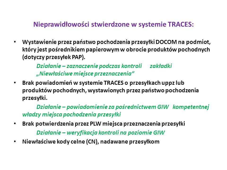 Nieprawidłowości stwierdzone w systemie TRACES: Wystawienie przez państwo pochodzenia przesyłki DOCOM na podmiot, który jest pośrednikiem papierowym w