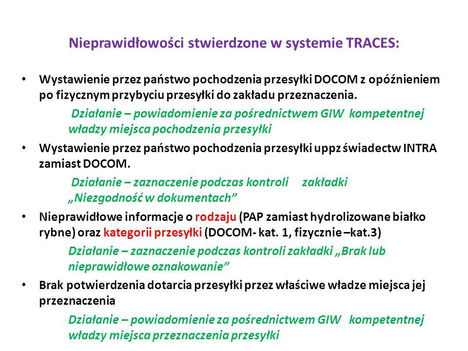 Nieprawidłowości stwierdzone w systemie TRACES: Wystawienie przez państwo pochodzenia przesyłki DOCOM z opóźnieniem po fizycznym przybyciu przesyłki d