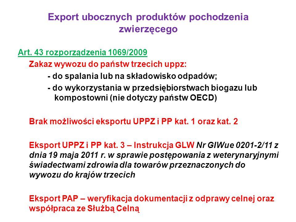 Export ubocznych produktów pochodzenia zwierzęcego Art. 43 rozporządzenia 1069/2009 Zakaz wywozu do państw trzecich uppz: - do spalania lub na składow