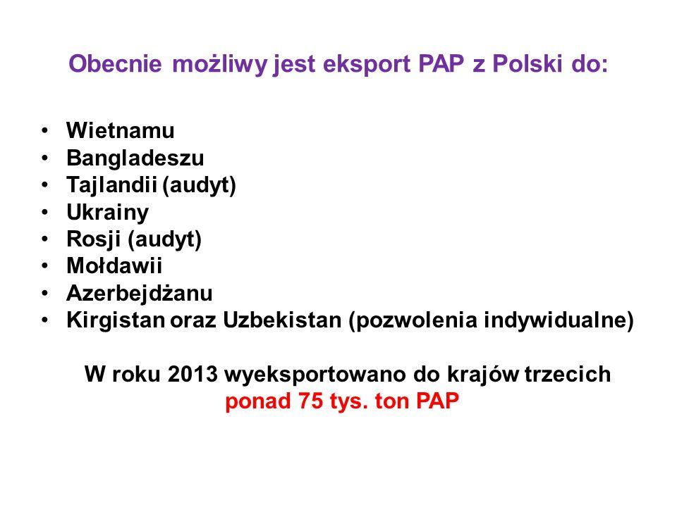 Obecnie możliwy jest eksport PAP z Polski do: Wietnamu Bangladeszu Tajlandii (audyt) Ukrainy Rosji (audyt) Mołdawii Azerbejdżanu Kirgistan oraz Uzbeki