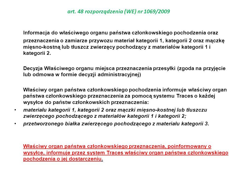 art. 48 rozporządzenia (WE) nr 1069/2009 Informacja do właściwego organu państwa członkowskiego pochodzenia oraz przeznaczenia o zamiarze przywozu mat
