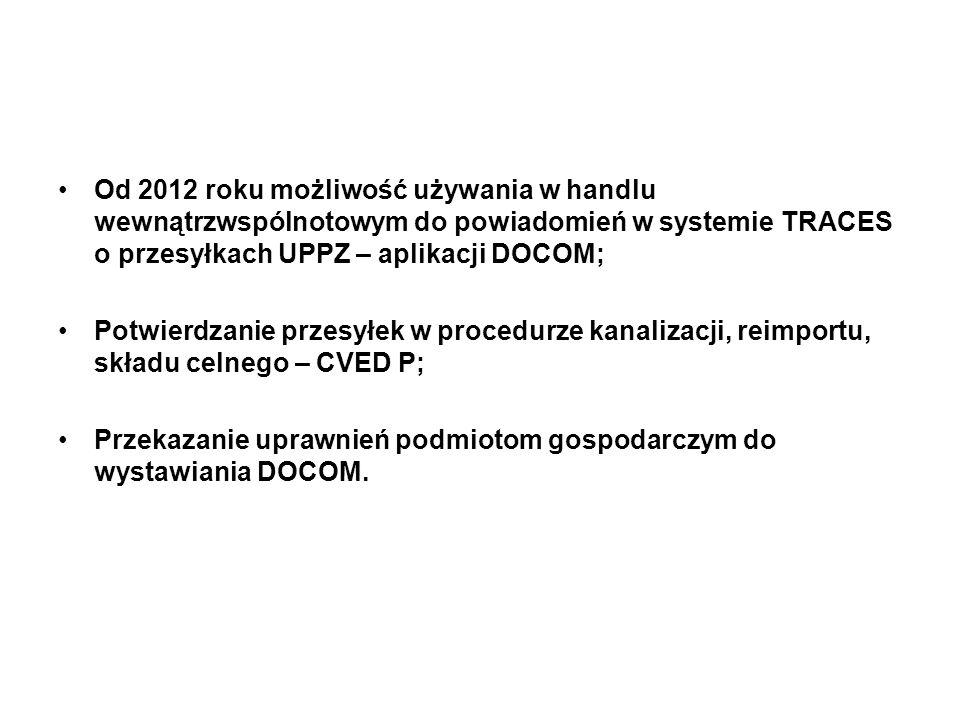 Od 2012 roku możliwość używania w handlu wewnątrzwspólnotowym do powiadomień w systemie TRACES o przesyłkach UPPZ – aplikacji DOCOM; Potwierdzanie prz