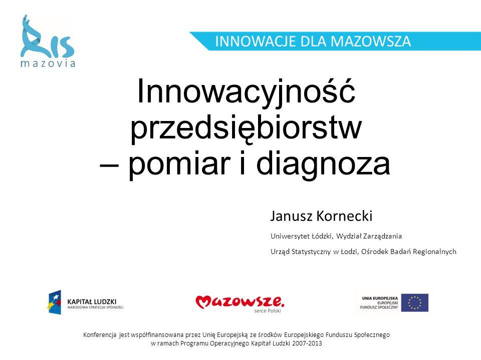 Innowacyjność przedsiębiorstw – pomiar i diagnoza Janusz Kornecki Konferencja jest współfinansowana przez Unię Europejską ze środków Europejskiego Fun