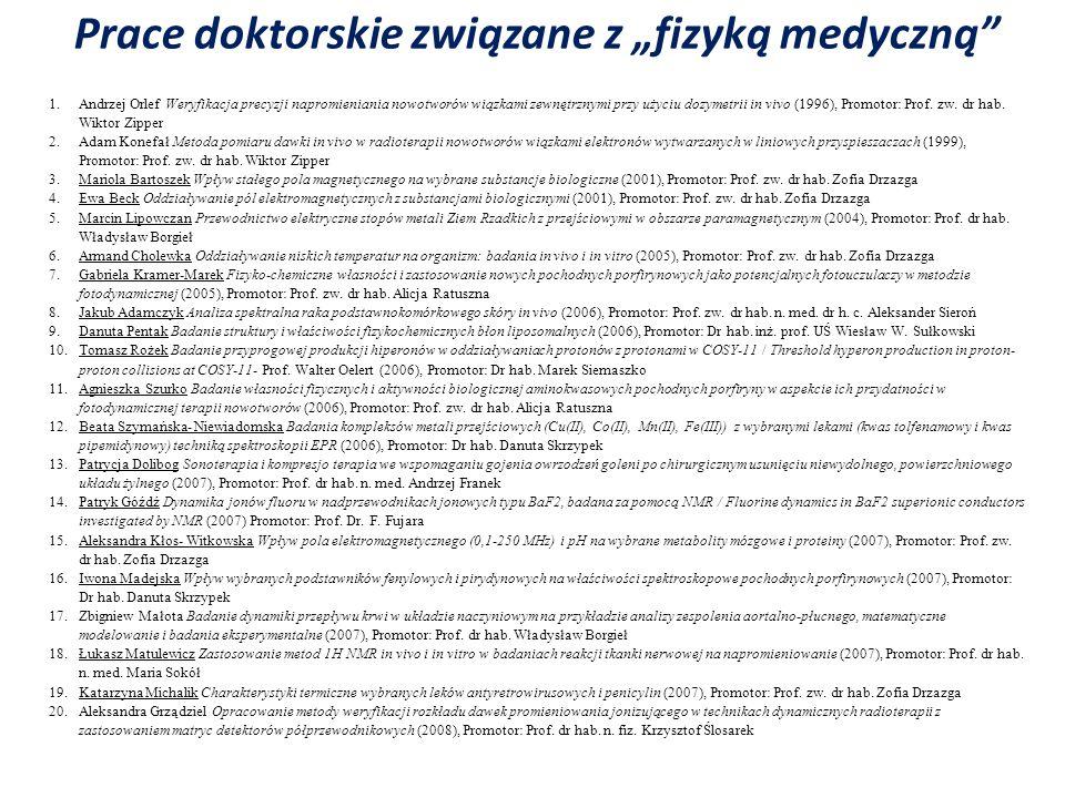 1.Andrzej Orlef Weryfikacja precyzji napromieniania nowotworów wiązkami zewnętrznymi przy użyciu dozymetrii in vivo (1996), Promotor: Prof. zw. dr hab