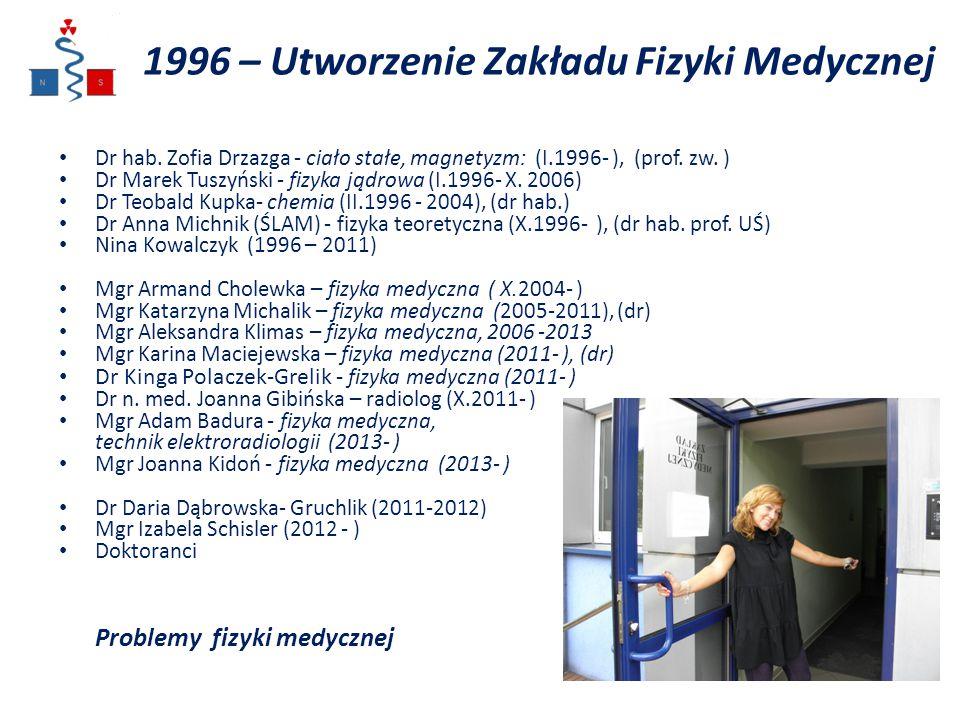 1996 – Utworzenie Zakładu Fizyki Medycznej Dr hab. Zofia Drzazga - ciało stałe, magnetyzm: (I.1996- ), (prof. zw. ) Dr Marek Tuszyński - fizyka jądrow