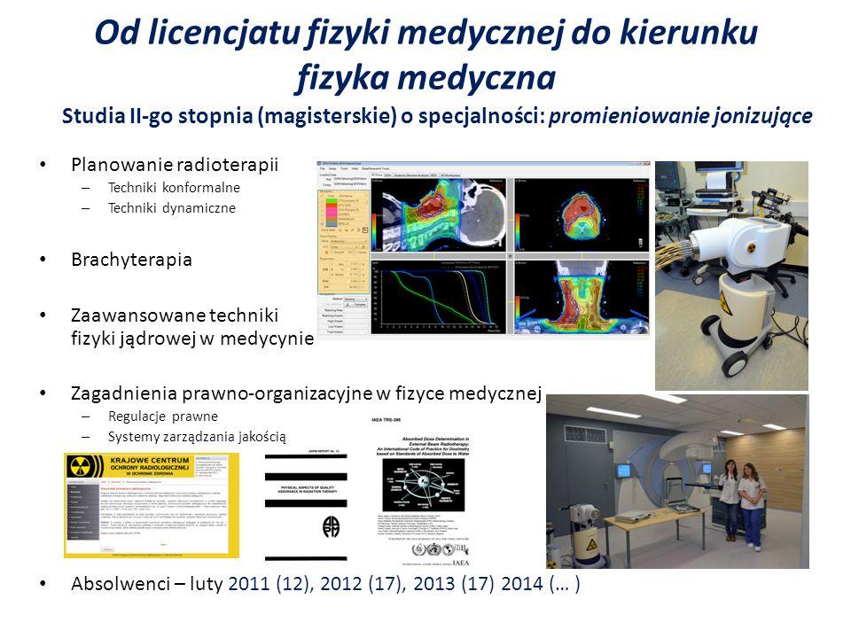 Absolwenci – 2011 (15), 2014 (…) Od licencjatu fizyki medycznej do kierunku fizyka medyczna Studia II-go stopnia (magisterskie) o specjalności: promieniowanie niejonizujące Zaawansowane techniki rezonansu magnetycznego Spektroskopia NMR Obrazowanie dyfuzyjne (DWI, DTI) Funkcjonalny rezonans magnetyczny Zaawansowane techniki z zakresu światła widzialnego i podczerwieni Spektroskopia optyczna absorpcyjna i emisyjna, Spektroskopia dichroizmu kołowego CD Spektroskopia IR Fotodynamiczna metoda diagnozowania i leczenia nowotworów Obrazowanie termiczne Bioelektromagnetyzm, elementy biocybernetyki Powstawanie potencjałów (EEG) i pól magnetycznych (MEG)