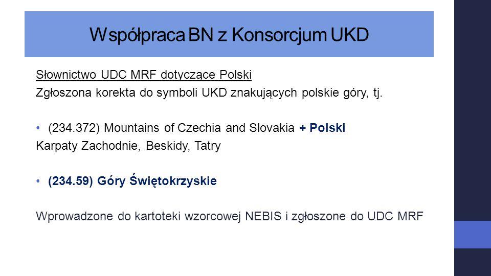 Współpraca BN z Konsorcjum UKD Słownictwo UDC MRF dotyczące Polski Zgłoszona korekta do symboli UKD znakujących polskie góry, tj. (234.372) Mountains