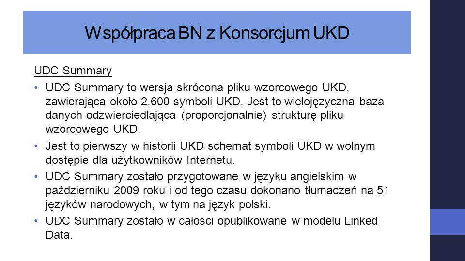 UDC Summary UDC Summary to wersja skrócona pliku wzorcowego UKD, zawierająca około 2.600 symboli UKD. Jest to wielojęzyczna baza danych odzwierciedlaj
