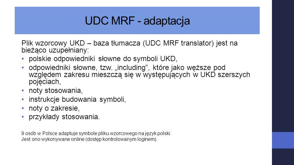 UDC MRF - adaptacja Plik wzorcowy UKD – baza tłumacza (UDC MRF translator) jest na bieżąco uzupełniany: polskie odpowiedniki słowne do symboli UKD, od
