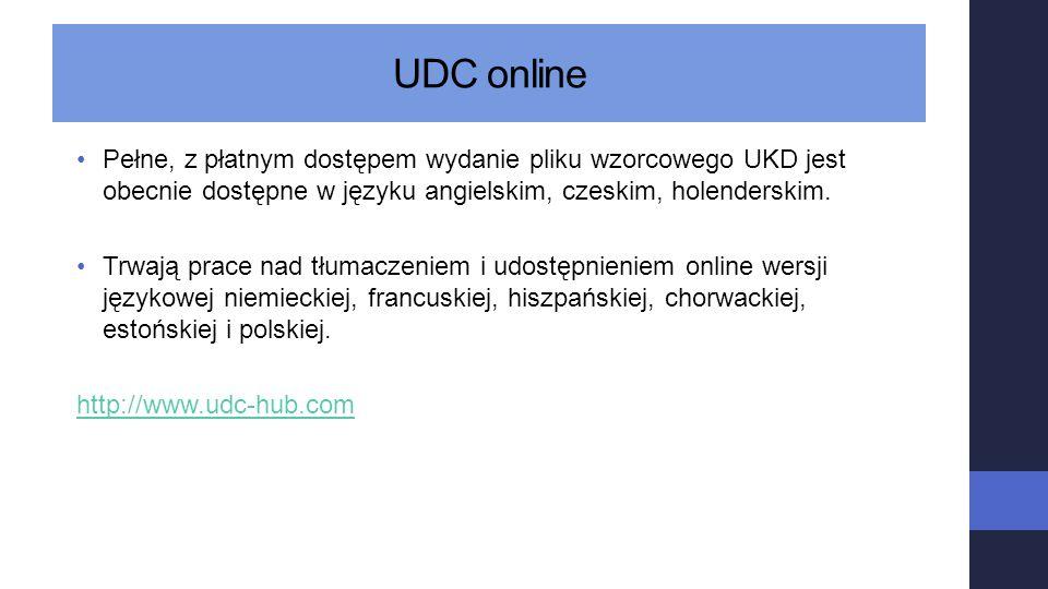 UDC online Pełne, z płatnym dostępem wydanie pliku wzorcowego UKD jest obecnie dostępne w języku angielskim, czeskim, holenderskim. Trwają prace nad t