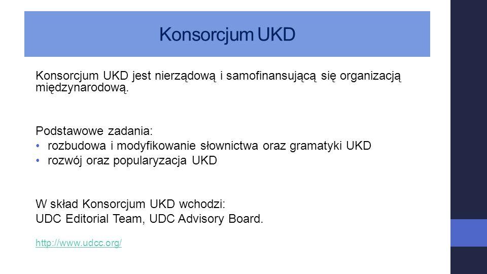 Konsorcjum UKD Konsorcjum UKD jest nierządową i samofinansującą się organizacją międzynarodową. Podstawowe zadania: rozbudowa i modyfikowanie słownict