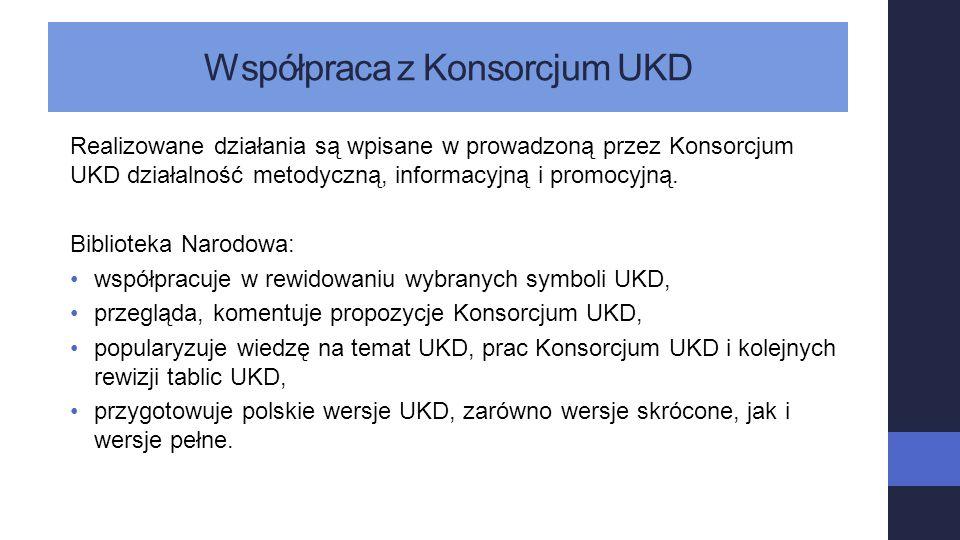 Współpraca z Konsorcjum UKD Realizowane działania są wpisane w prowadzoną przez Konsorcjum UKD działalność metodyczną, informacyjną i promocyjną. Bibl