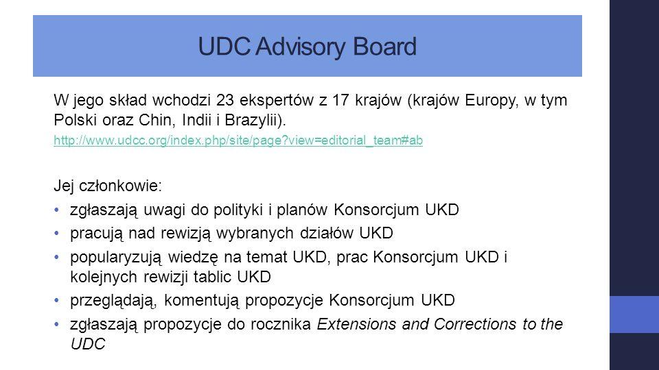 UDC Advisory Board W jego skład wchodzi 23 ekspertów z 17 krajów (krajów Europy, w tym Polski oraz Chin, Indii i Brazylii). http://www.udcc.org/index.