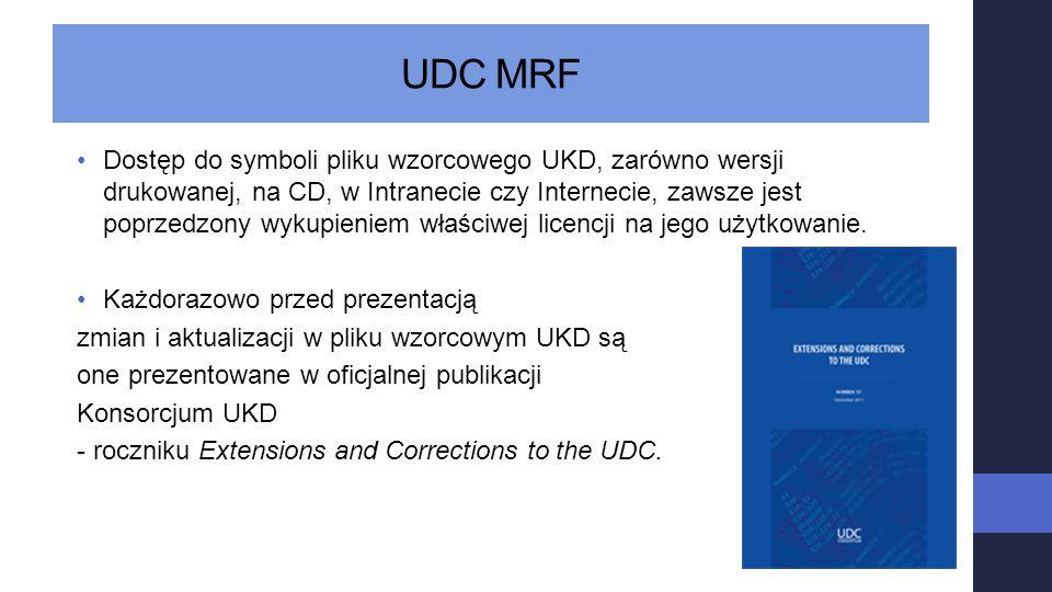 UDC MRF Dostęp do symboli pliku wzorcowego UKD, zarówno wersji drukowanej, na CD, w Intranecie czy Internecie, zawsze jest poprzedzony wykupieniem wła