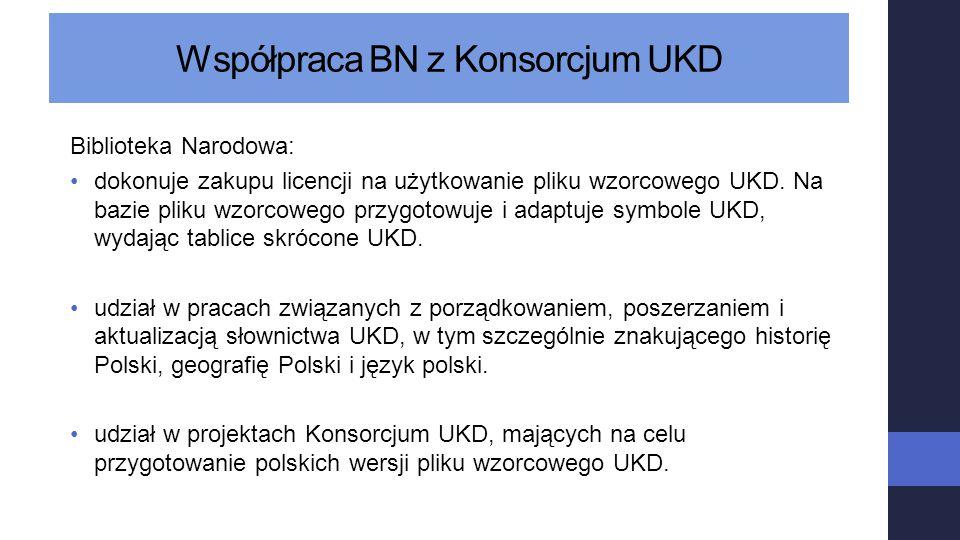 Współpraca BN z Konsorcjum UKD Biblioteka Narodowa: dokonuje zakupu licencji na użytkowanie pliku wzorcowego UKD. Na bazie pliku wzorcowego przygotowu