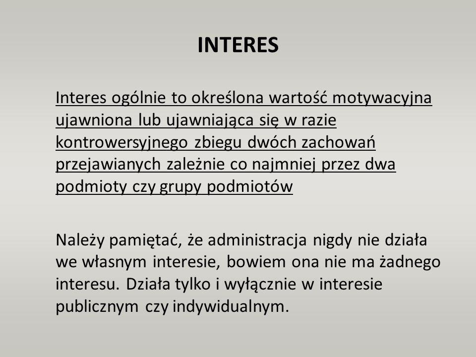 INTERES Interes ogólnie to określona wartość motywacyjna ujawniona lub ujawniająca się w razie kontrowersyjnego zbiegu dwóch zachowań przejawianych za