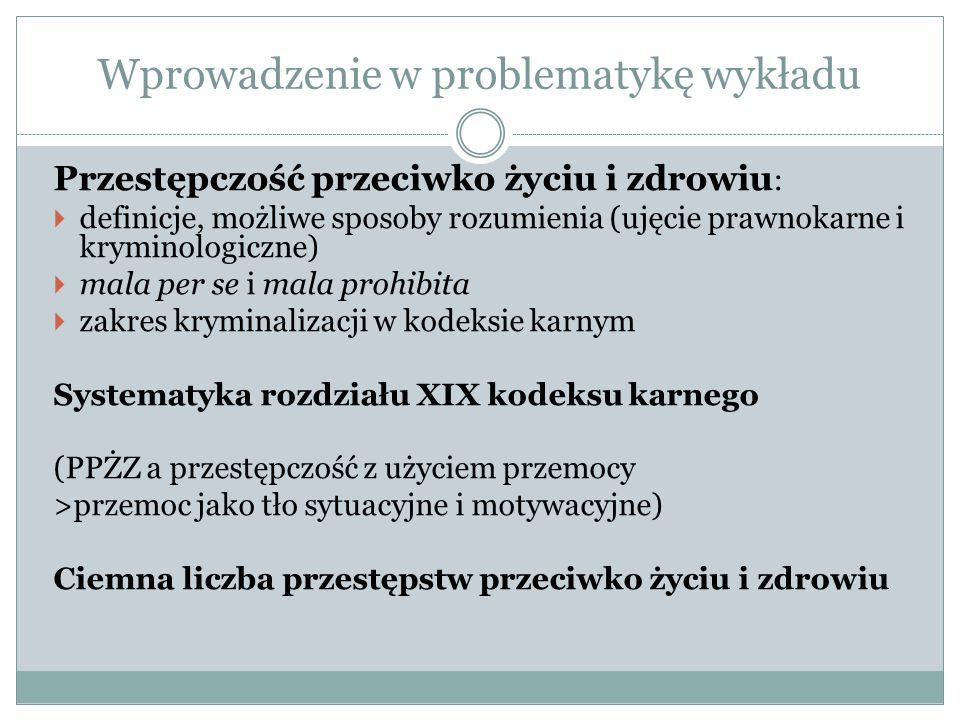 Wprowadzenie w problematykę wykładu Przestępczość przeciwko życiu i zdrowiu :  definicje, możliwe sposoby rozumienia (ujęcie prawnokarne i kryminolog