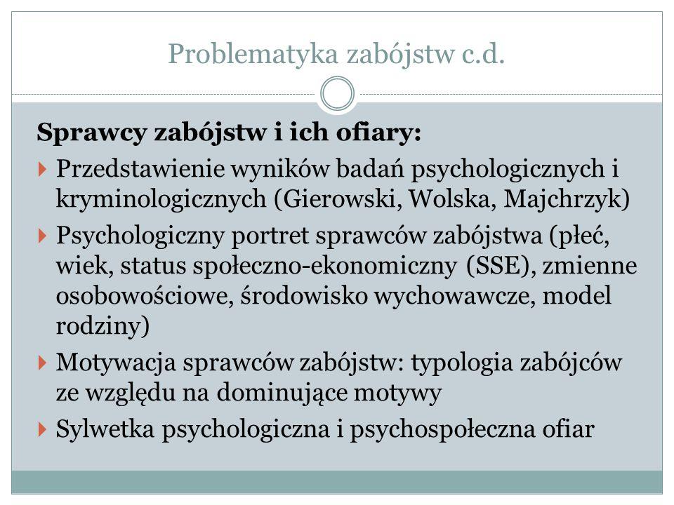 Problematyka zabójstw c.d. Sprawcy zabójstw i ich ofiary:  Przedstawienie wyników badań psychologicznych i kryminologicznych (Gierowski, Wolska, Majc