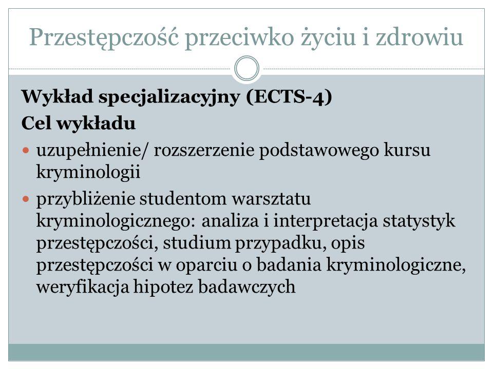 Wykład specjalizacyjny (ECTS-4) Cel wykładu uzupełnienie/ rozszerzenie podstawowego kursu kryminologii przybliżenie studentom warsztatu kryminologiczn