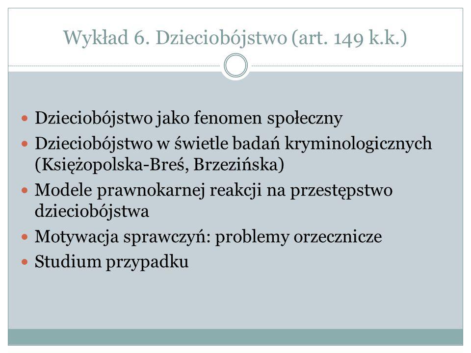 Wykład 6. Dzieciobójstwo (art. 149 k.k.) Dzieciobójstwo jako fenomen społeczny Dzieciobójstwo w świetle badań kryminologicznych (Księżopolska-Breś, Br