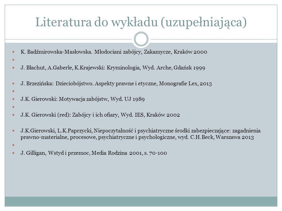 Literatura do wykładu (uzupełniająca) K. Badźmirowska-Masłowska. Młodociani zabójcy, Zakamycze, Kraków 2000 J. Błachut, A.Gaberle, K.Krajewski: Krymin