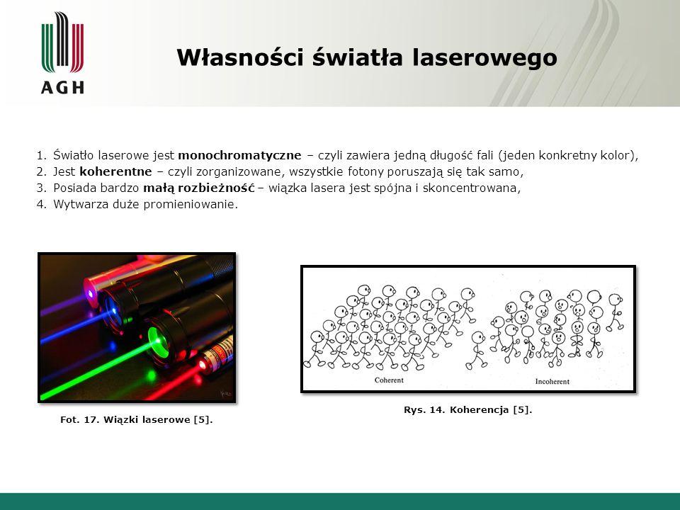 Podział laserów 1.W zależności od mocy wiązki: a)Małej mocy - od 1 do 6 mW, b)Średniej mocy – do 500 mW, c)Dużej mocy (wysokoenergetyczne) – od 500 mW do 10 kW.