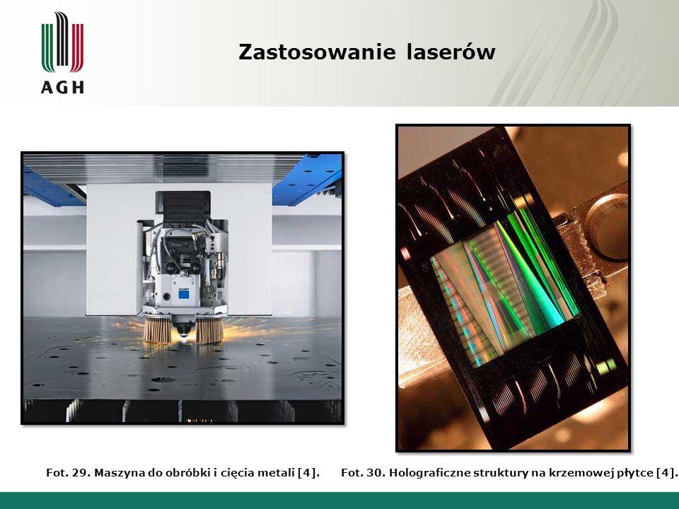 Zastosowanie laserów Fot. 31. Grawerowanie laserem [4].Fot. 32. Mapa wykonana poprzez LIDAR [4].