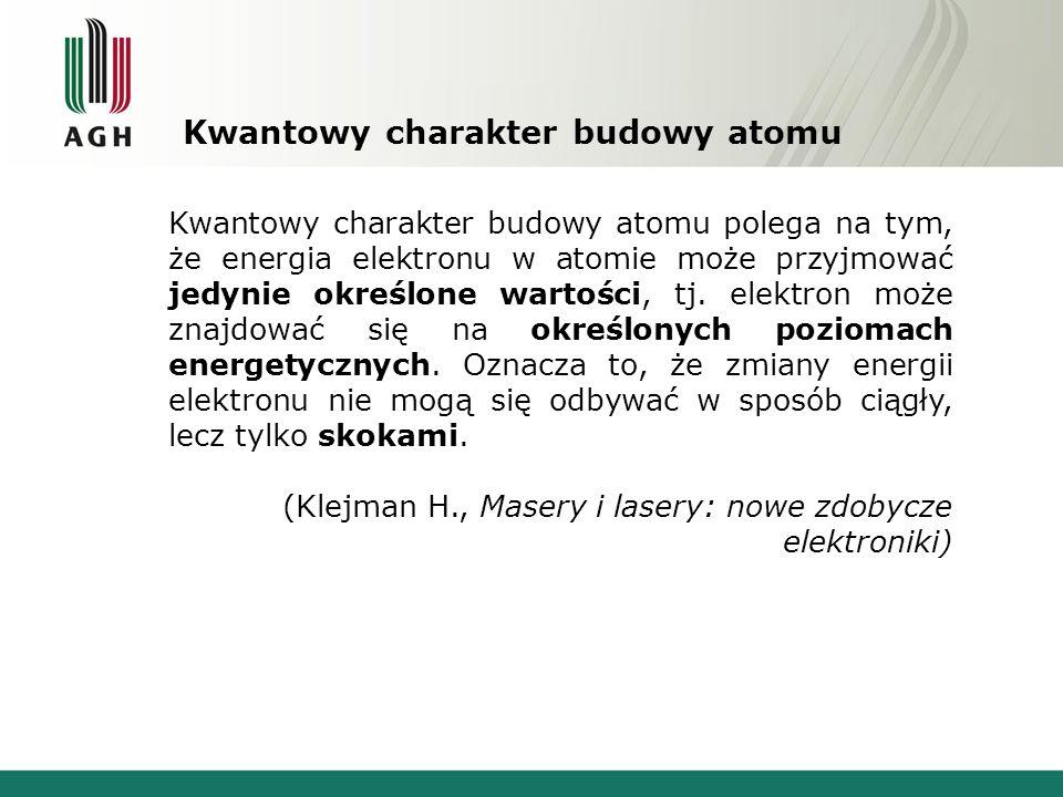 Kwantowy charakter budowy atomu Rys. 2. Poziomy energetyczne wodoru [6].
