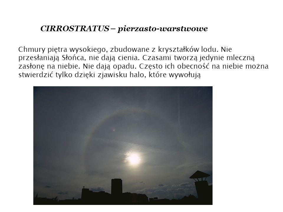 CIRROSTRATUS – pierzasto-warstwowe Chmury piętra wysokiego, zbudowane z kryształków lodu.