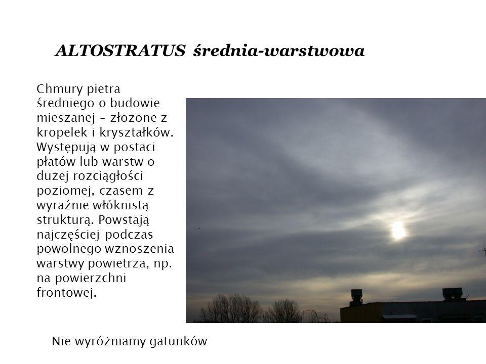 ALTOSTRATUS średnia-warstwowa Chmury pietra średniego o budowie mieszanej – złożone z kropelek i kryształków.