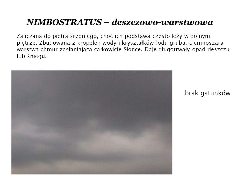 NIMBOSTRATUS – deszczowo-warstwowa Zaliczana do piętra średniego, choć ich podstawa często leży w dolnym piętrze.