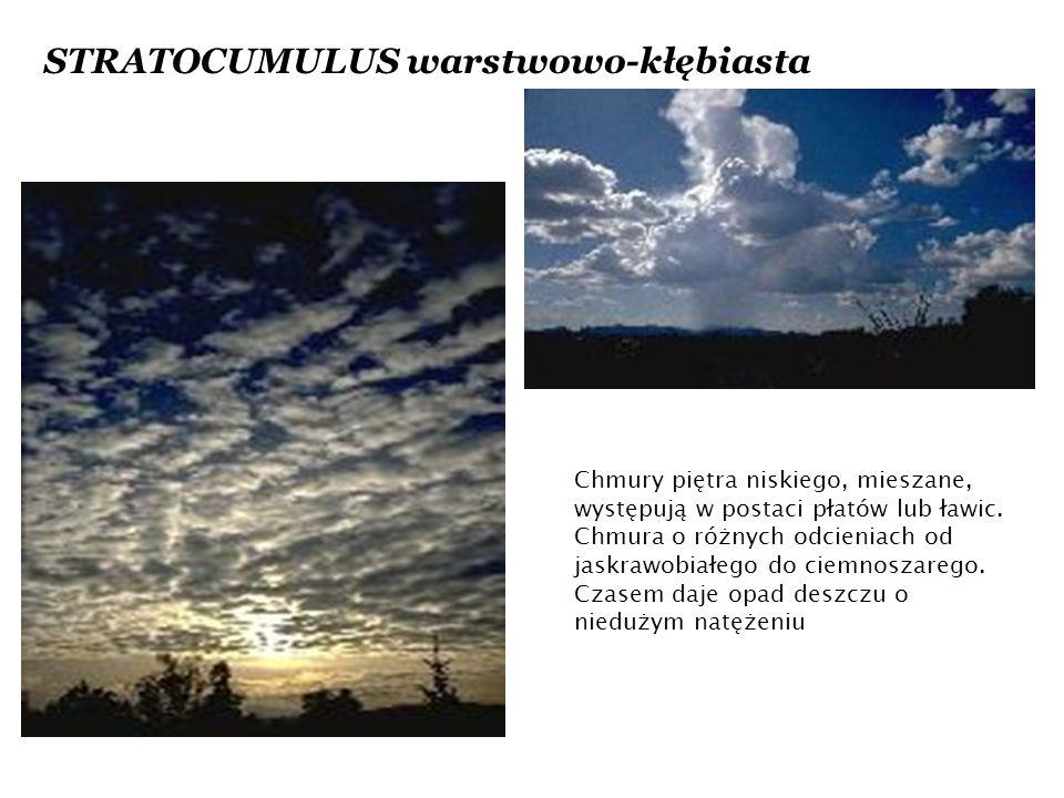STRATOCUMULUS warstwowo-kłębiasta Chmury piętra niskiego, mieszane, występują w postaci płatów lub ławic.