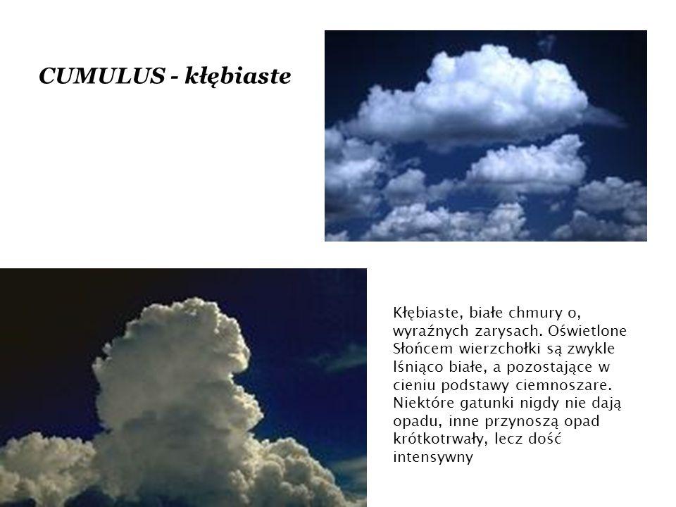 CUMULUS - kłębiaste Kłębiaste, białe chmury o, wyraźnych zarysach.