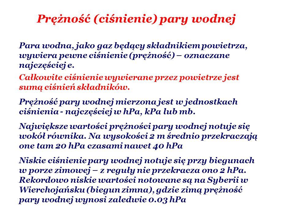 Rodzaje i prędkość parowania parowanie potencjalne to maksymalne możliwe parowanie, nie ograniczone zapasami wilgoci parowanie rzeczywiste to faktyczna ilość wyparowanej w danych warunkach wody Szybkość parowania (strumień wilgoci), F w, (mierzona w kg·m -2 ·s -1 lub mm·dzień -1 ): - jest proporcjonalna do niedosytu wilgotności (E-e), - jest odwrotnie proporcjonalna do ciśnienia atmosferycznego p, - zależy od kształtu powierzchni parującej (współczynnik A), - zależy nieliniowo od prędkości wiatru (funkcja f(v))
