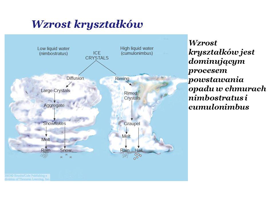 Wzrost kryształków Wzrost kryształków jest dominującym procesem powstawania opadu w chmurach nimbostratus i cumulonimbus