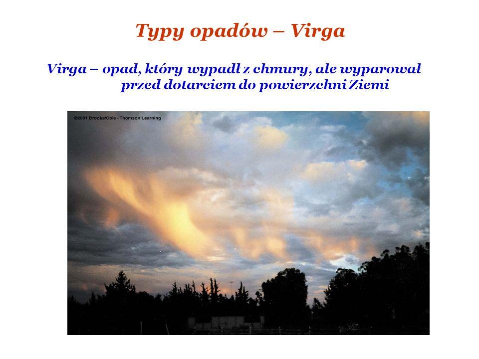 Typy opadów – Virga Virga – opad, który wypadł z chmury, ale wyparował przed dotarciem do powierzchni Ziemi