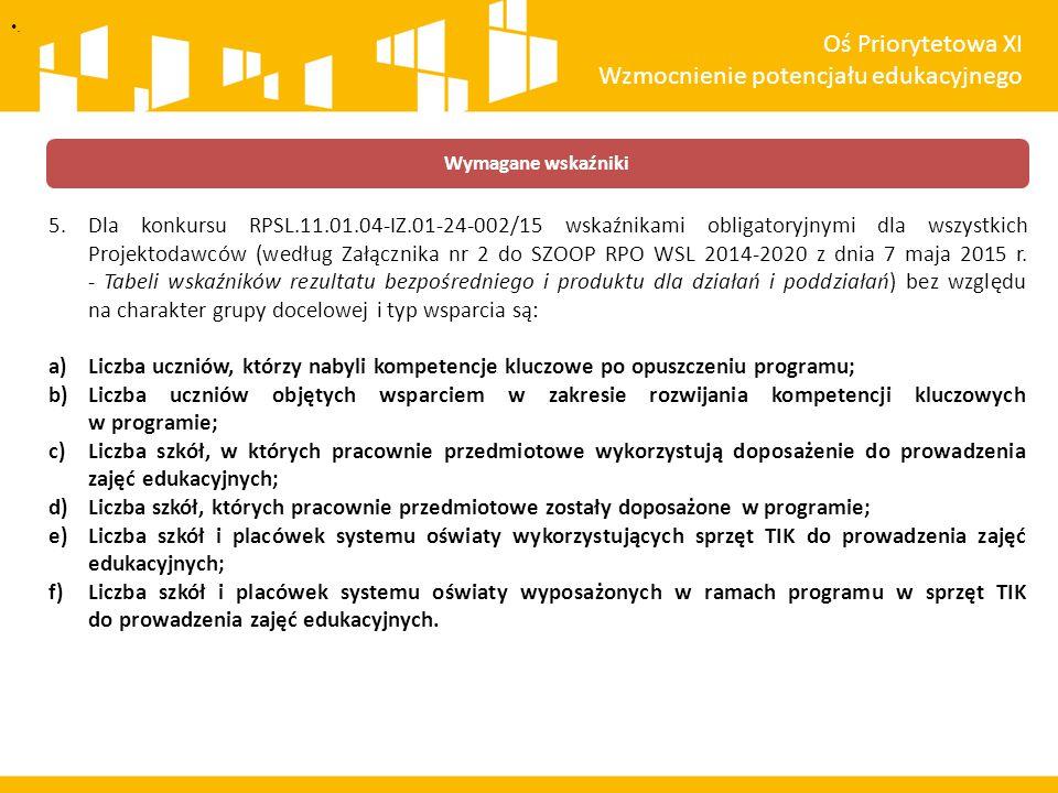 5.Dla konkursu RPSL.11.01.04-IZ.01-24-002/15 wskaźnikami obligatoryjnymi dla wszystkich Projektodawców (według Załącznika nr 2 do SZOOP RPO WSL 2014-2020 z dnia 7 maja 2015 r.