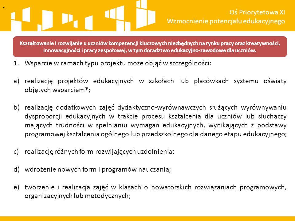 . Schemat procedury oceny wniosków Oś Priorytetowa XI Wzmocnienie potencjału edukacyjnego Wpływ wniosku do IOK Weryfikacja wymogów formalnych Wezwanie wnioskodawcy do uzupełniania/korekty wymogów formalnych Ocena formalna Ocena merytoryczna wraz z ewentualnymi negocjacjami