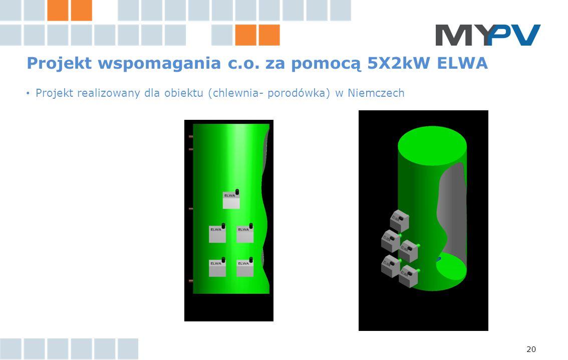 20 Projekt wspomagania c.o. za pomocą 5X2kW ELWA Projekt realizowany dla obiektu (chlewnia- porodówka) w Niemczech