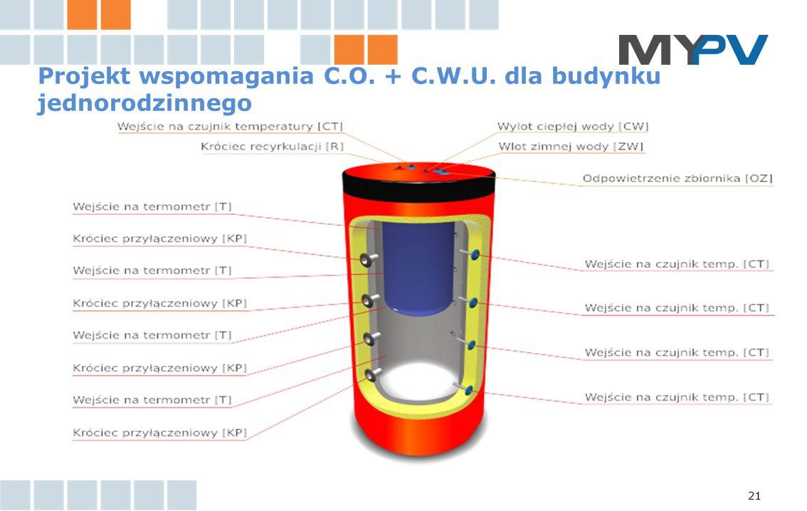 21 Projekt wspomagania C.O. + C.W.U. dla budynku jednorodzinnego