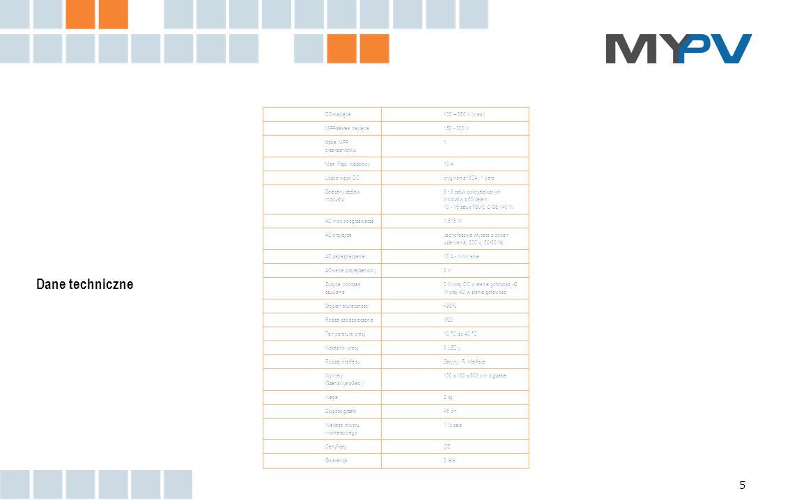 5 DC-napięcie100 – 360 V (max.) MPP-zakres napięcia150 - 300 V liczba MPP przekaźnikóww 1 Max. Prąd wejściowy10 A Liczba wejść DCoryginalnie MC4, 1 pa