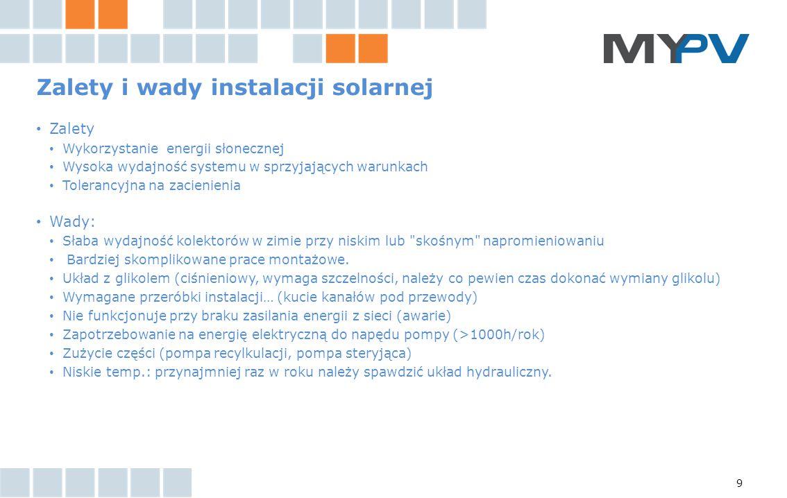 9 Zalety i wady instalacji solarnej Zalety Wykorzystanie energii słonecznej Wysoka wydajność systemu w sprzyjających warunkach Tolerancyjna na zacieni