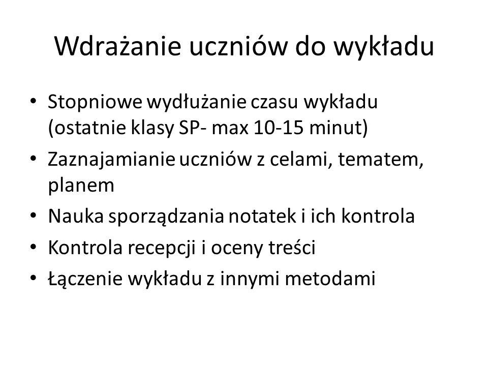 Wdrażanie uczniów do wykładu Stopniowe wydłużanie czasu wykładu (ostatnie klasy SP- max 10-15 minut) Zaznajamianie uczniów z celami, tematem, planem N