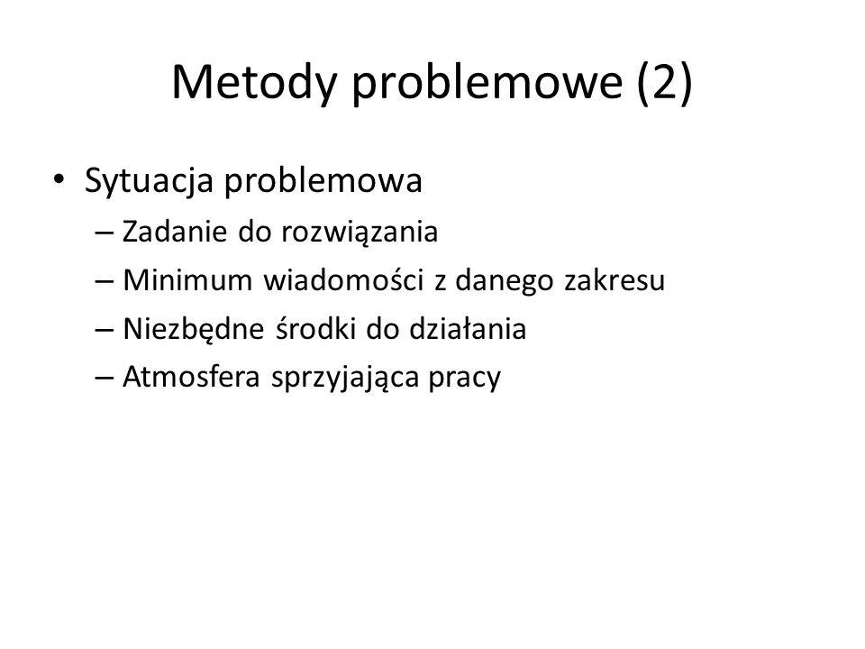 Metody problemowe (2) Sytuacja problemowa – Zadanie do rozwiązania – Minimum wiadomości z danego zakresu – Niezbędne środki do działania – Atmosfera s