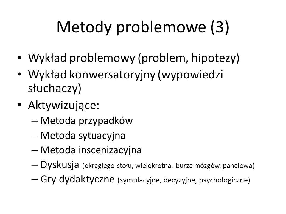 Metody problemowe (3) Wykład problemowy (problem, hipotezy) Wykład konwersatoryjny (wypowiedzi słuchaczy) Aktywizujące: – Metoda przypadków – Metoda s