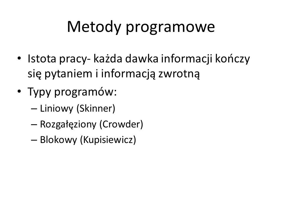 Metody programowe Istota pracy- każda dawka informacji kończy się pytaniem i informacją zwrotną Typy programów: – Liniowy (Skinner) – Rozgałęziony (Cr