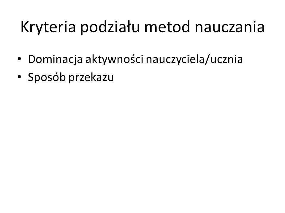 Metody problemowe (3) Wykład problemowy (problem, hipotezy) Wykład konwersatoryjny (wypowiedzi słuchaczy) Aktywizujące: – Metoda przypadków – Metoda sytuacyjna – Metoda inscenizacyjna – Dyskusja (okrągłego stołu, wielokrotna, burza mózgów, panelowa) – Gry dydaktyczne (symulacyjne, decyzyjne, psychologiczne)