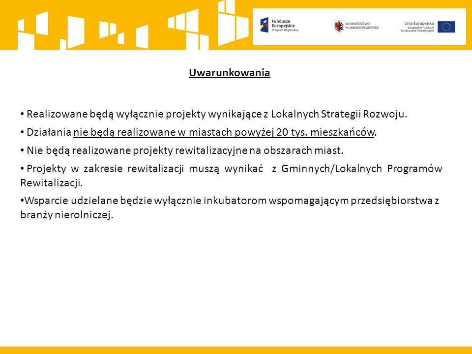 Realizowane będą wyłącznie projekty wynikające z Lokalnych Strategii Rozwoju. Działania nie będą realizowane w miastach powyżej 20 tys. mieszkańców. N