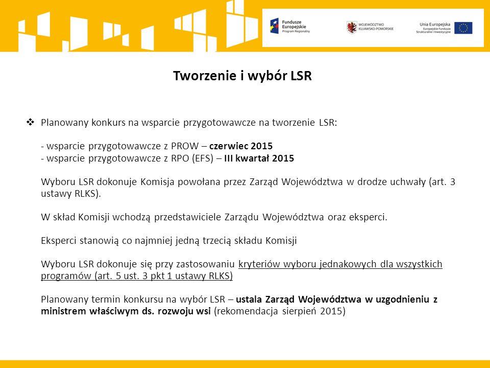  Planowany konkurs na wsparcie przygotowawcze na tworzenie LSR: - wsparcie przygotowawcze z PROW – czerwiec 2015 - wsparcie przygotowawcze z RPO (EFS